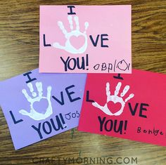 I Love You Handprint Valentine's Day Card - Crafty Morning