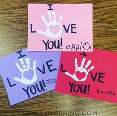 I Love You Handprint Valentine's Day Card - Crafty Morning
