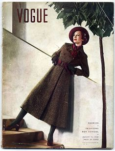 AUGUST 15 1935 ANTON BRUEHL 30s long coat wool color photo print ad brown red burgundy model magazine