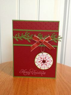 Christmas Card Kit Snowflake Ornament Made with Mostly Stampin Up Product | eBay