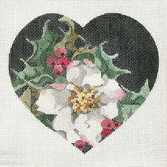 Christmas Rose by Joy Jaurez for Fleur de Paris Product Code: JJH-6004   Hand Painted Canvas  18g, 5.5 x 5