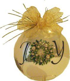 """JOY"" Hand Painted Champagne Gloss Christmas Ornament"
