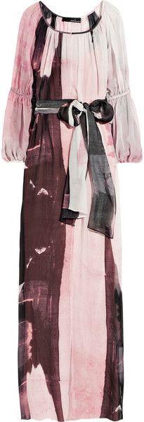 Belted Silk-chiffon Maxi Dress - Lyst