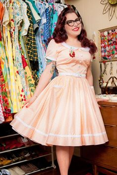 Dee Dee Dress in White and Peach Gingham