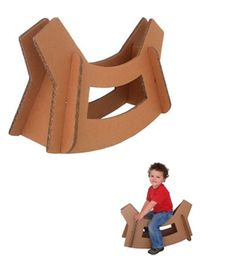 recycled cardboard rocking horse
