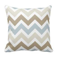 Smoky Blue Gray, Tan, and Brown Chevron Pattern Throw Pillows