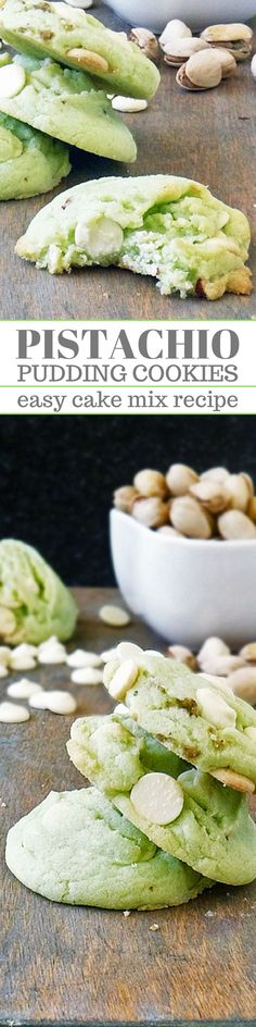 Pistachio Pudding Cookies are easy to make with a box cake mix. Everyone loves these tasty treats. Perfect for holidays like Easter, St. Patrick's Day, & even Christmas. The white chocolate and pistac (Christmas Bake Brownies) Cupcakes, Cake Mix Cookies, Sandwich Cookies, Key Lime Pie, Cookie Desserts, Cookie Recipes, Holiday Desserts, Pistachio Pudding Cookies, Pistachio Muffins