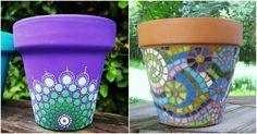 Ideas originales para personalizar macetas. Macetas caseras. Mosaiquismo en macetas. Macetas pintadas a mano. Macetas DIY.