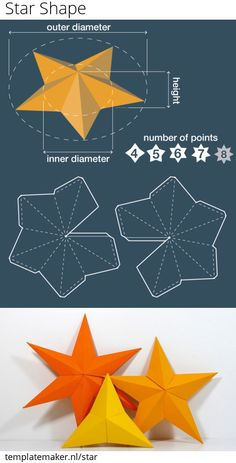 Unlimited, free and custom sized STAR SHAPE templates. 3d Paper Art, Paper Crafts Origami, Diy Origami, Diy Paper, Christmas Paper, Christmas Crafts, Theme Noel, Paper Stars, Diy Décoration