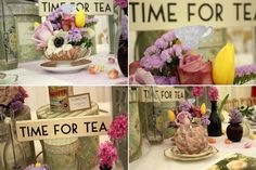More inspiration for High tea High Tea Wedding, Tea Party Wedding, Tea Party Decorations, Wedding Table Centerpieces, Flower Decorations, English Country Weddings, Tea Party Table, Afternoon Tea Parties, Wedding Themes