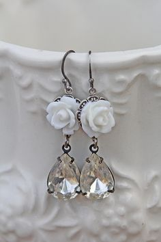 Creamy FLower Dangles - $28.00 : Beth Quinn Designs , Romantic Inspirational Jewelry
