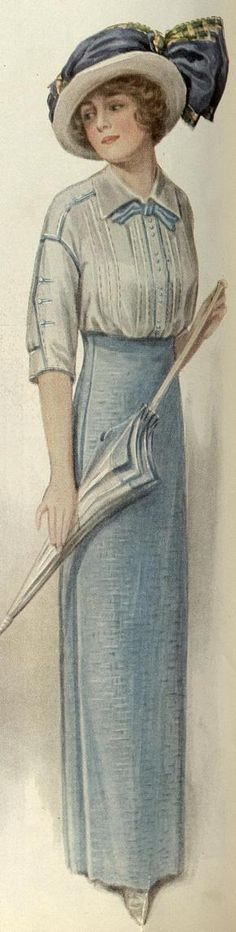1913 blue skirt and blouse