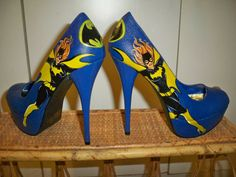 Hand Painted Heels Pumps Batgirl Blue High heels by CelistellART, $75.00