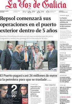 Los Titulares y Portadas de Noticias Destacadas Españolas del 15 de Octubre de 2013 del Diario La Voz De Galicia ¿Que le pareció esta Portada de este Diario Español?