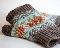 Knitting Pattern Fair Isle Fingerless Gloves par helengraydesigns More
