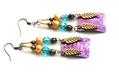 Colorful Bohemian Feather Earrings Boho Chic by MusingTreeStudios, $18.99