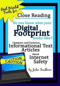 Informational Text Close Reading Compare/Contrast {Internet Safety} ready to print lesson for teens! Social Media Safety, Online High School, Digital Footprint, Information Literacy, Internet Safety, Digital Citizenship, Mental And Emotional Health, Library Programs, Compare And Contrast