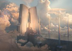 Sky Temple by najtkriss - Digital Art / Drawings & Paintings / Landscapes & Scenery Fantasy City, Fantasy Places, Fantasy World, Fantasy Concept Art, Fantasy Artwork, Fantasy Landscape, Landscape Art, Science Fiction Kunst, Rpg Map