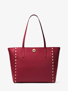 MICHAEL KORS Rivington Large Studded Leather Tote. #michaelkors #bags #polyester #tote #leather #lining #shoulder bags #hand bags #
