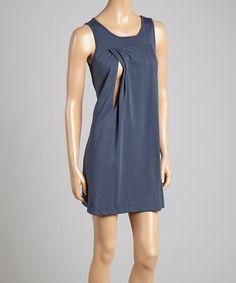 This Blue Yoke Nursing Sleeveless Nightgown - Women by Savi Mom is perfect! #zulilyfinds