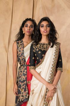 Ivory muga tussar saree with a black dupion blouse, hand-embroidered with zardozi. Black Saree Blouse, Saree Blouse Neck Designs, Indian Blouse, Indian Sarees, Black Blouse Designs, Lakme Fashion Week, Abaya Fashion, Indian Fashion, Women's Fashion