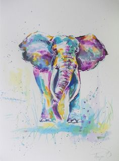 ORIGINAL elephant watercolor painting, painted on Canson Moulin du Roy 140lbs/300gsm , 100% coton watercolor paper. 100% hand painted. Painted with artists grade watercolor paints. Size: Si...