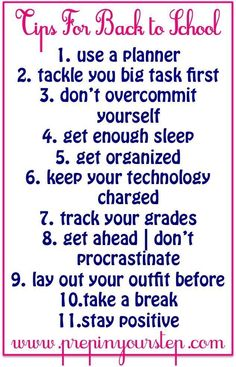 To School Tips- Dorothy makes some great reminders about how to stay on top of your game with school in session!Back To School Tips- Dorothy makes some great reminders about how to stay on top of your game with school in session! High School Hacks, Life Hacks For School, School Study Tips, Back To School Hacks For Teens, Middle School Tips, Back To School Organization For Teens, Back To School Essentials, Prep School, School Days