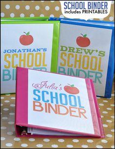 School Binder with printables from www.thirtyhandmadedays.com Back 2 School, Back To School Hacks, School Info, School Stuff, Diy School, School Tips, Back To School Organization, Organisation, Student Binders