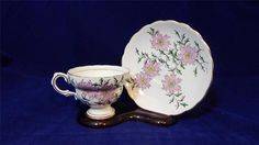 VTG Rosina Bone China ENGLAND 4899 Pink Flowers Footed Cup & Saucer