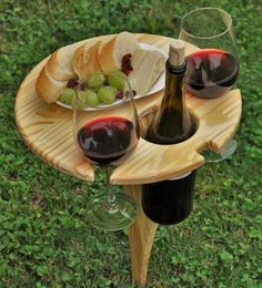 This beautifully handcrafted folding wine stand is a must have for all wine lovers. It has plenty of room for your bottle of wine, two glasses and a plate of your favorite wine parings. Perfect for outdoor wine festivals, family picnics or just a quiet evening in your backyard! 1. Foldable design with handle for easy storage and take alongs 2. Solid wood and steel elements - stainless steel rod pushes into the ground with little effort 3. Locks in place in both positions, flat and folded ...