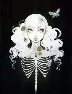 death girl anime white black dark skeleton guro