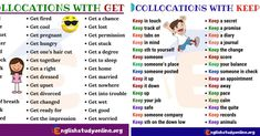 """Collocations in English! Collocation refers to a natural combination of words that are closely affiliated with each other. Some examples are """"pay attention"""" ,""""fast food"""", """"make an effort"""", and """"powerful engine"""" English Idioms, English Vocabulary, English Grammar, Free English Lessons, Learn English For Free, Connecting Words, How To Say Hello, Ways To Say Said, Spelling Words"""