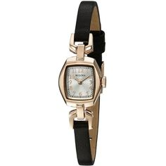 Bulova Women's Quartz Stainless Steel and Brown Leather Dress Watch... ($129) ❤ liked on Polyvore featuring jewelry, watches, quartz watches, rectangular watches, water resistant watches, dress watches and brown leather wrist watch