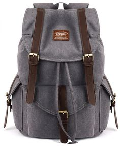 0b16422ff698 KAUKKO Vintage Unisex Canvas Leather Backpack Rucksack Casual Hiking Travel  Satchel Bookbags Grey     Be sure to check out this awesome product.