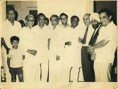 From Left, Sahir, Majrooh, Naushad, Jan Nisar Akhtar, R.D. Burman, Akhtar ul Iman, Faiz, Rajinder Singh Bedi, Gaffarbhai Nadiadwala. It was taken during Faiz Ahmed Faiz's India visit 1970-71. The boy in front is Andalib Sultanpuri, Majrooh Sultanpuri's son. Pic Courtsy Prof Surjit Singh sb