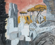 Edward Bawden (British, 1903-1989), Hadrian's Villa, 1952. Pencil, wash, gouache, ink and crayon, 48 x 57.9 cm.