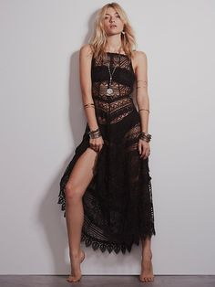 """Delicate and feminine sheer lace maxi dress with crochet trim detailing throughout. Scalloped crochet hem. Open back with """"V"""" style straps.     *60% Cotton   *40% Polyester   *Machine Wash Cold   *Import      Measurements for Small: Bust: 42""""  Waist: 28""""  Length: 51"""""""