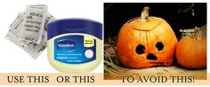 Push silica beads  into the inside flesh of your carved Jack-O-Lantern OR smear vaseline over all exposed inner-areas to prolong the life of your pumpkin!