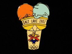 Double Scoop Salt Lake 2002 Olympic Winter Games Souvenir Pin. You know your country has a problem when half of your Winter Olympic souvenir pins are of food!!!