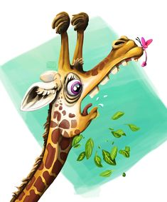 Illustration of a wacky giraffe frightened of the insect on its nose - by Alida Loubser (Artwork medium: Digital painting in Adobe Photoshop, Wacom Intuos tablet) Wacom Intuos, Adobe Photoshop, Giraffe, Photo And Video, Digital, Medium, Illustration, Outdoor Decor, Artwork