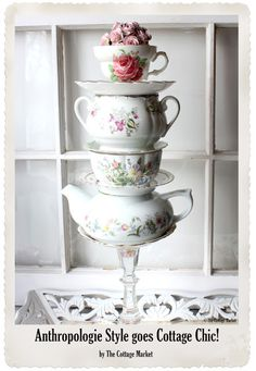 out of miss matched tea cups and saucers~