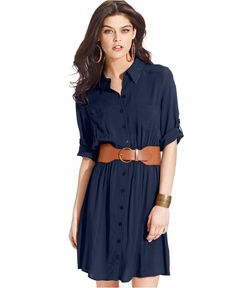 BCX Short-Sleeve Belted Shirtdress - Dresses - Women - Macy's