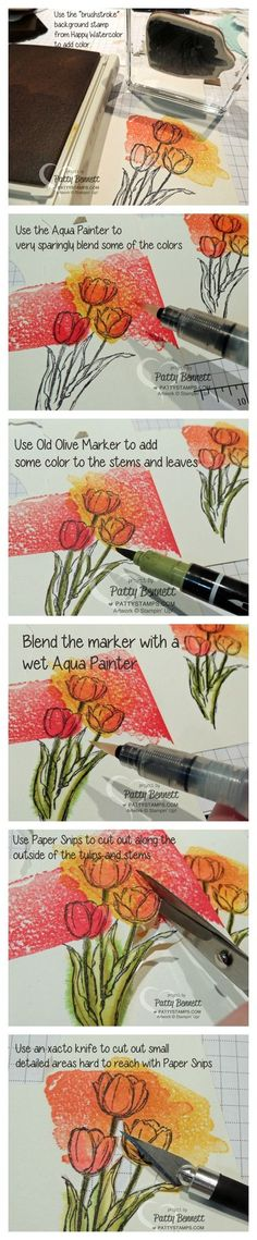 How to Faux Watercolor the Blessed Easter Tulips from Stampin' Up! by Patty Bennett, www.PattyStamps.com