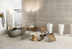 Awesome Bathroom Design with Stone Bathtub and Colored Glass Divider – Contemporary Bathrooms from Neutra Bathroom Sink Design, Best Bathroom Designs, Contemporary Bathroom Designs, Bath Design, Bathroom Interior Design, Bathroom Ideas, Contemporary Design, Bad Inspiration, Bathroom Inspiration
