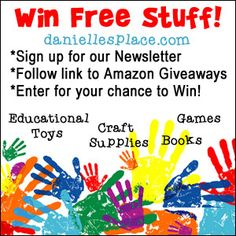 Enter for your chance to win educational toys, craft supplies, games and books for children. Click on the image to follow the link to www.daniellesplace.com