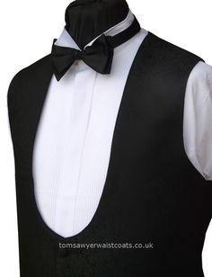 Traditional Waistcoats : Black, Evening Waistcoats & Party Waistcoats : 'Milford' Bow Fronted Black Jacquard Waistcoat