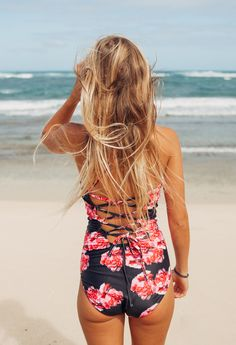 {The Lei} aka the most beautiful, chic and classy floral one piece swimsuit you'll ever see. Slimming, flattering and perfect for teens and for moms. | @albionfit