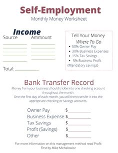 Small Business Bookkeeping, Small Business Plan, Starting A Business, Business Planning, Growing Business, Money Worksheets, Small Business Organization, Self Employment, Budgeting Finances