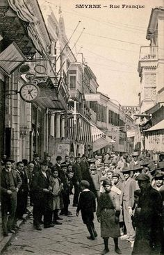 View of Frenk Street before the İzmir Fire Kusadasi, History Of Photography, Family History, Istanbul, Greece, Street View, Fire, Fantasy, Country