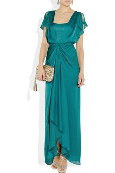 Mother of the Bride Dress Idea: Venus Waterfall Teal Silk Dress by Temperley London